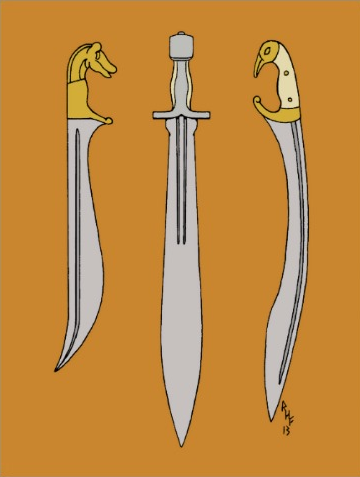 A Makhaira, a Xiphos and a Kopis