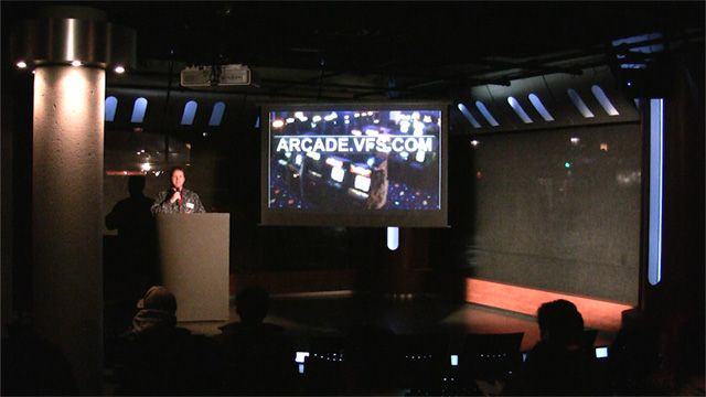 Dave Warfield introduces Arcade to the Pitch and Play crowd