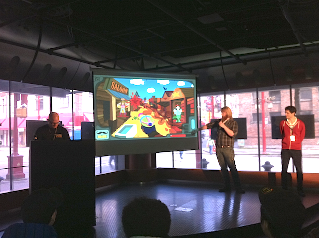 students presenting their Flash Game