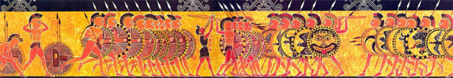 Hoplite battle on the Chigi vase