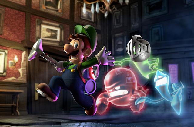 Scared Luigi Running from Ghosts