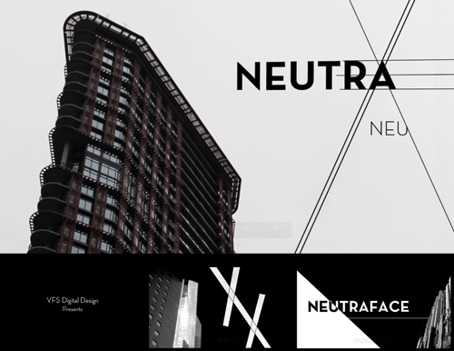 neutraface The final neutraface display family includes five weights in regular and alternate variations and a unique titling font the font family's architectural origins lent to its initial creation as a headline typeface.
