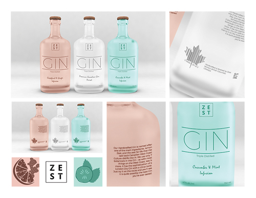 Zest Gin Packaging by Kelly Kurtz