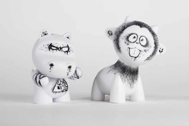 Two of Danny Chan's custom MUNNYWORLD designs