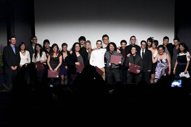 The VFS Digital Design 23rd Graduating Class on Stage with Diplomas