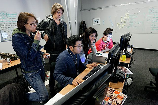 Shot of Students in Production