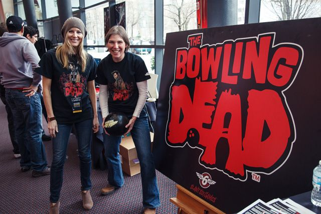 The Bowling Dead crew with a game weapon