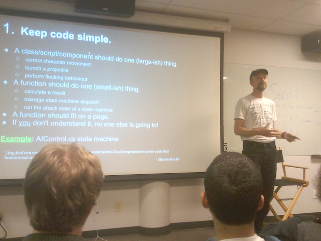 Yggy King talking to VFS Game Design students about good coding practices