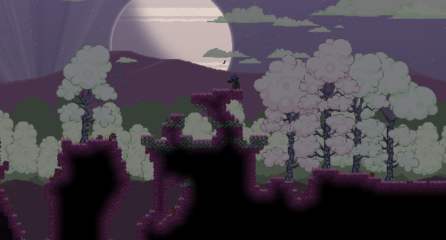 A pretty night scene one of Starbound's planets