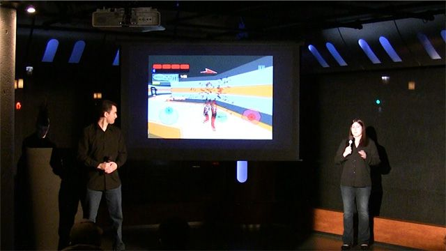 Team Shattergun present their game to the Pitch and Play audience