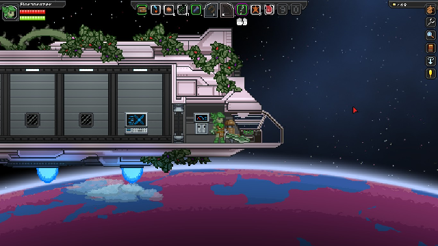 A view of space from the cockpit of a starter ship in Starbound