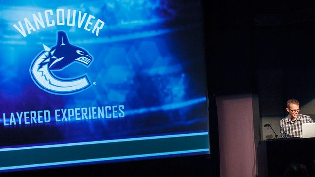 Mark Raham with slide Vancouver-Canucks-Layered-Experiences