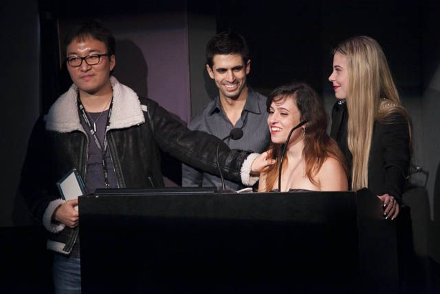 Winners of Best Team Project for Project Anonymous: Andy Kang Ryan Ali Laura Cortes and Sarah Roselie Fischer
