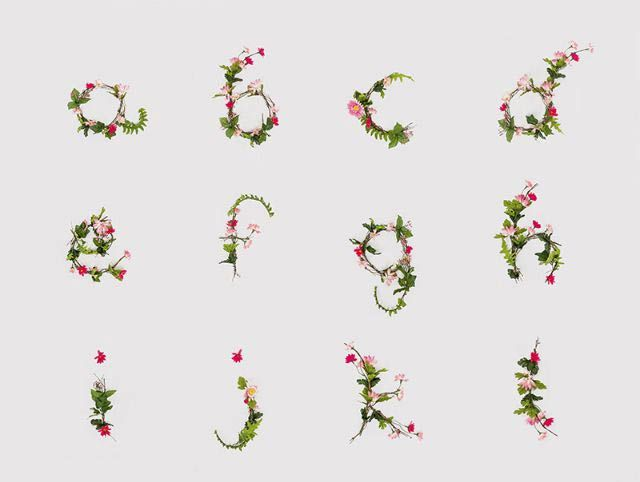 Floral typography - alphabet by Anne Lee A - L
